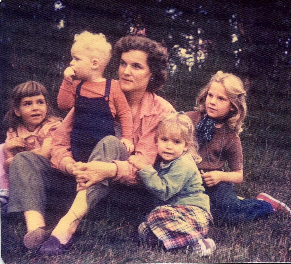 This shows Kristin on the left, then my mother with the rest of us kids soon after our arrival in Alaska.