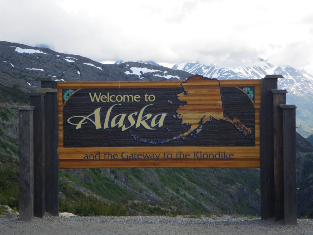 Today's version of the Alaska border sign to Skagway, much more fancy!