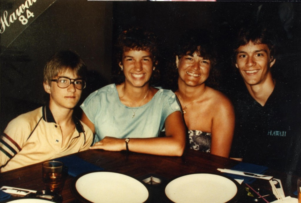 Mom Kristin with the three kids in Hawaii 1984 - Peter (12), Dara (14), Kristin( 37), and Grey (16) Besides driving and camping trips, this was our first real vacation ever, and it took me two years to pay for it!