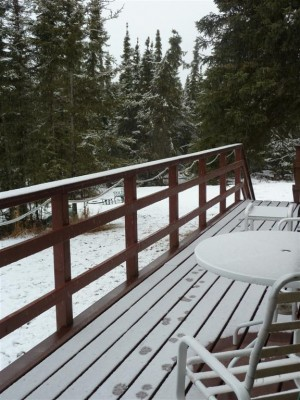 The back deck where I sat in the sun last month with Shar.